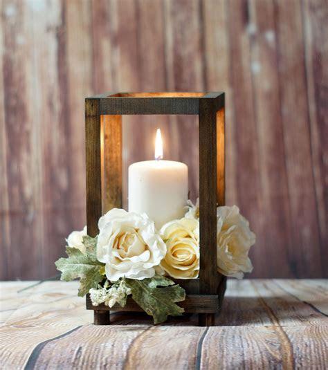 Reclaimed Wood Candle Lantern Centerpiece, Rustic Wedding