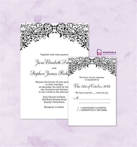 FREE PDF wedding downloads. Filigree Top Border Invitation