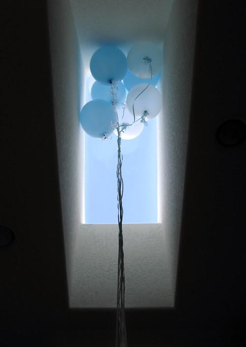 balloons in window light