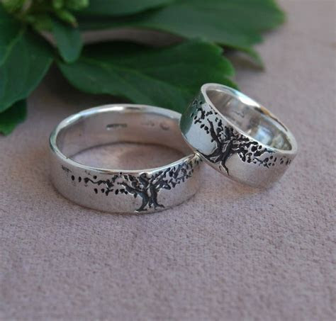 Band Tree of Life Ring Set 8mm wide Sterling silver