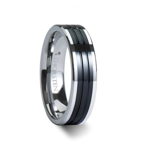 EDINBURGH Pipe Cut Grooved Tungsten Ring with Ceramic