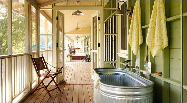 galvanized bath tub outside