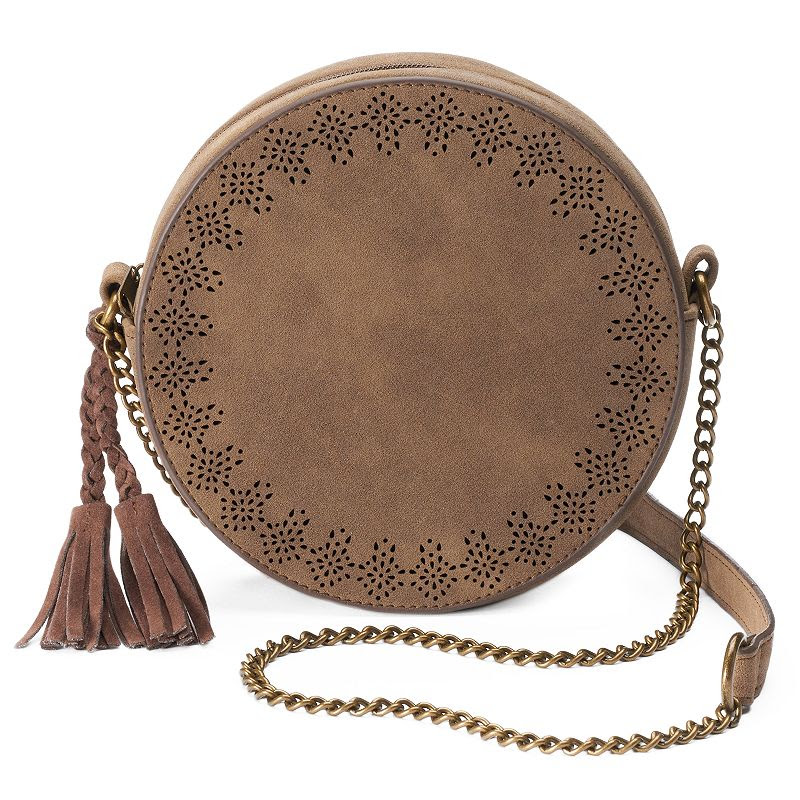 T-Shirt & Jeans Round Laser-Cut Crossbody Bag, Women's, Med Beige