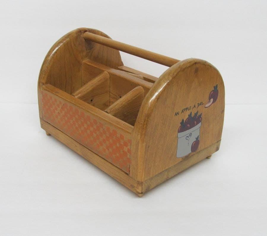 Wooden Kitchen Caddy Silverware Flatware Utensils Orange by jetto