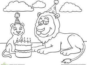 Birthday Coloring: Lion Party | Worksheet | Education.com