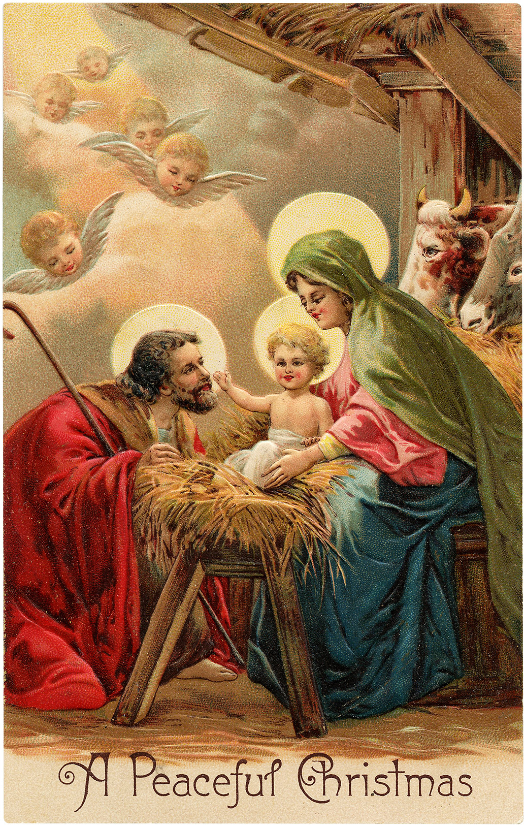 Vintage Peaceful Christmas Nativity Image! - The Graphics ...