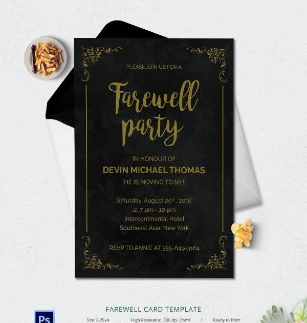 farewell invitation card template  professional sample