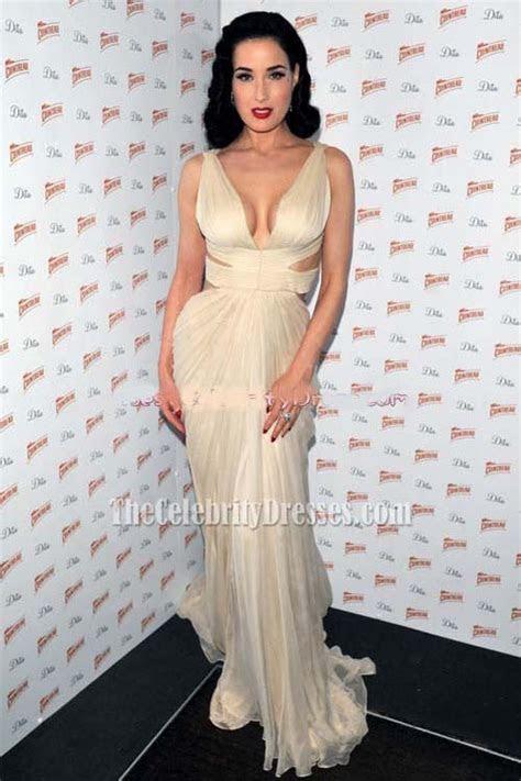 Celebrity Dresses Dita von Teese Ivory Prom Dress Formal