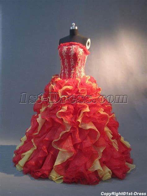 Red and Yellow Unique 15 Quinceanera Gowns IMG 2952 :1st
