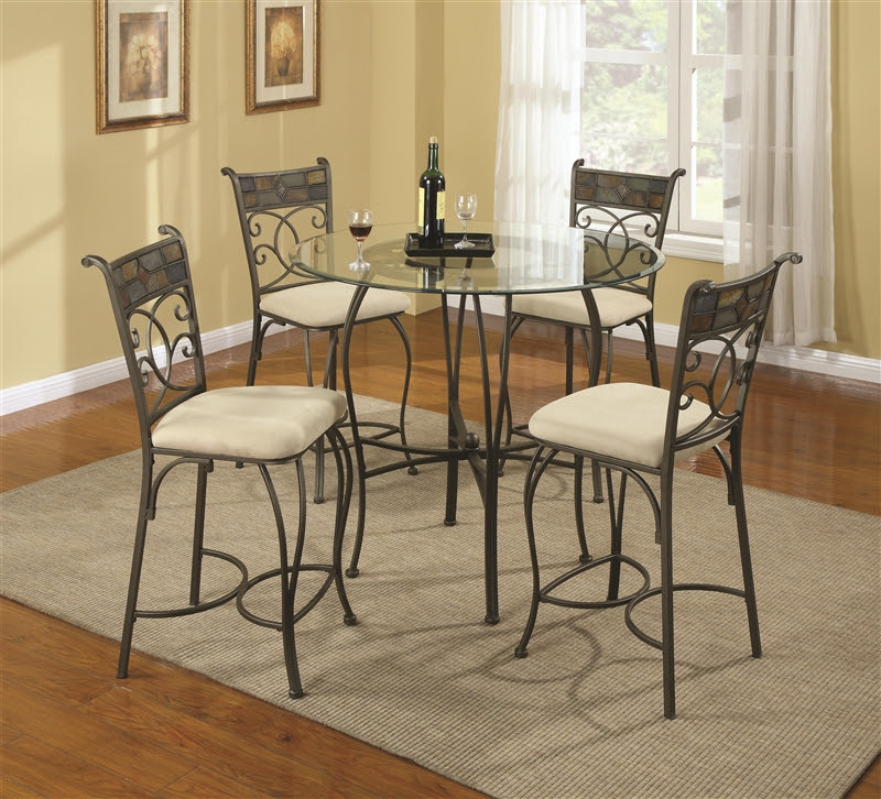 Ardith Glass Top 5 Piece Counter Height Dining Table Set ...