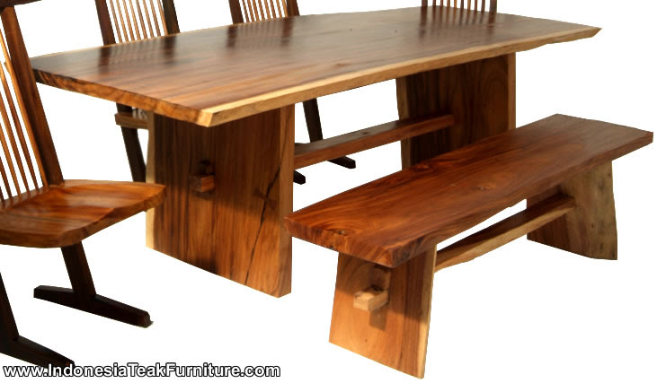 WOODEN TABLE FACTORY Natural Solid Wood Table Bench Furniture Set ...