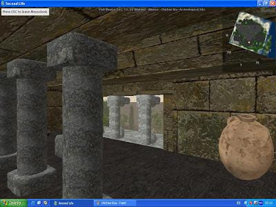 Imágenes de la vista exterior de las pirámides Chichen Itza (Mexico) en la visita virtual a Second Life