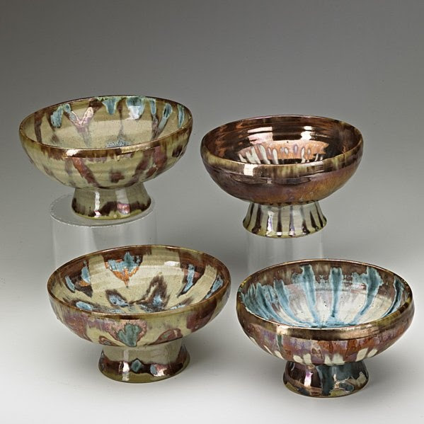 BEATRICE WOOD Four footed bowls