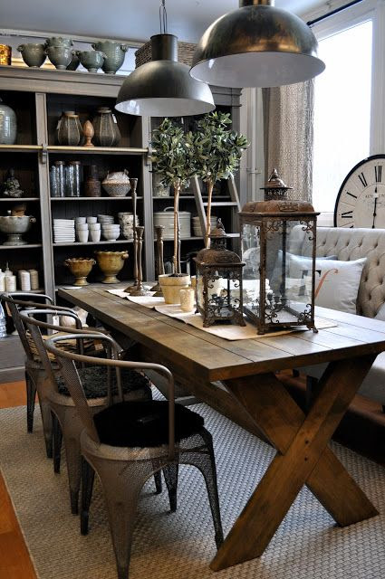 Dinning room , Farmhouse table, Industrial lights, Bookshelf, hutch