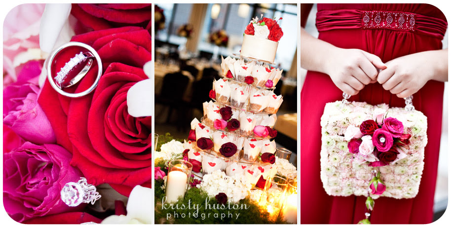 wedding cake red pink