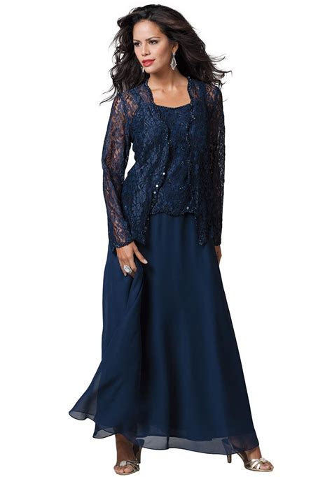 Lace and Chiffon Jacket Dress   Plus Size Special Occasion
