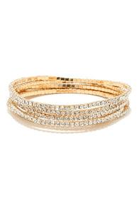 Dazzling Display Gold Rhinestone Bracelet Set