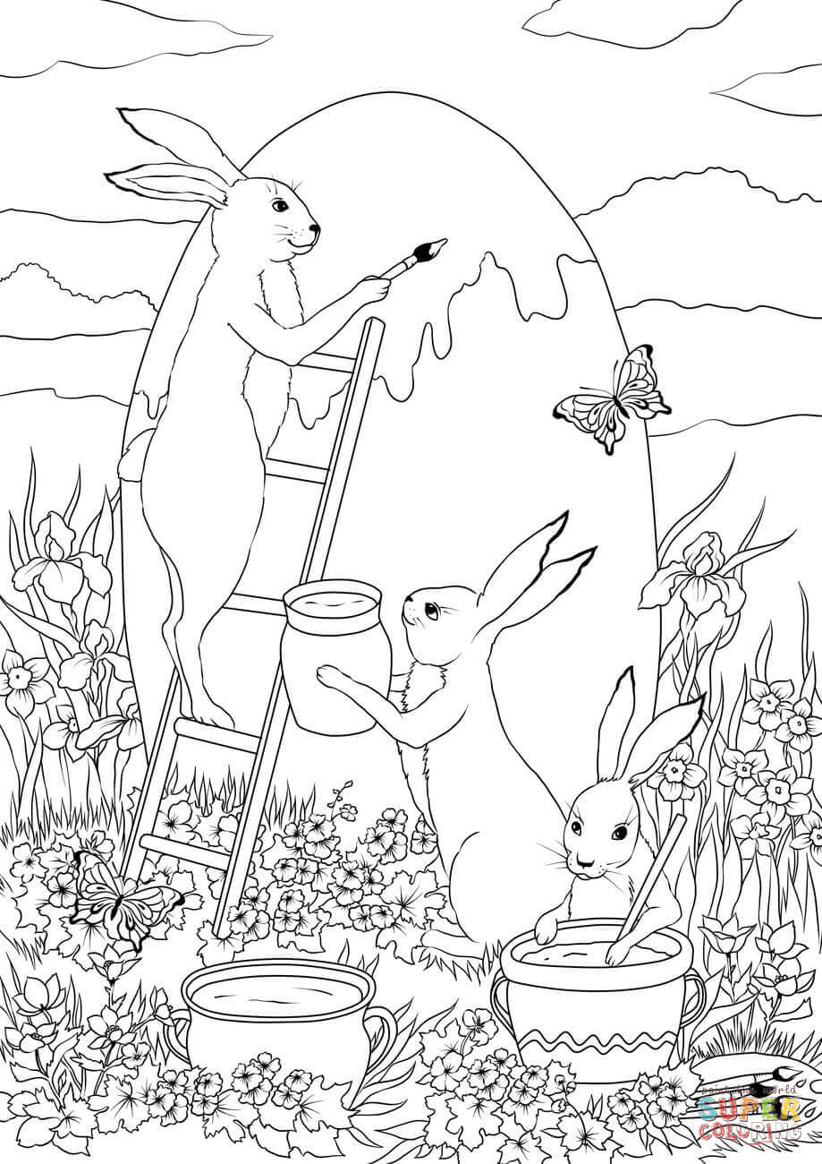 Three Easter Bunnies are Painting a Huge Easter Egg ...