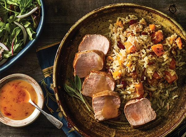 Tangy Ginger Pork with Autumn Rice