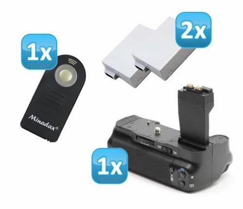 minadax professionnel battery grip pour canon eos 700d 650d 600d et 550d comme bg e8. Black Bedroom Furniture Sets. Home Design Ideas