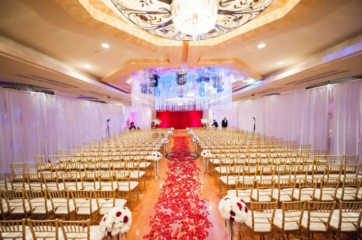 epic wedding in Los Angeles California weddings retro glam ceremony flowers red white