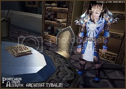 Rioriel's daily World of Warcraft screenshot presentation of significant locations, players, memorable characters and events taken on the European roleplaying server The Sha'tar, assembled in the style of a postcard series. -- Postcards from Azeroth: Arcanist Tybalin, by Rioriel of theshatar.eu