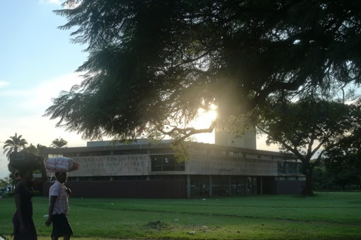 Harare National Library at sunset.