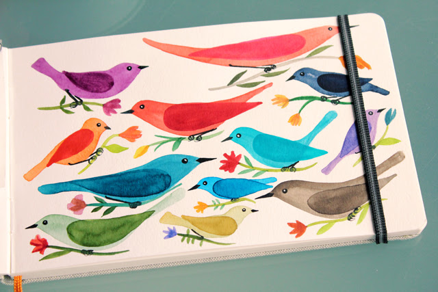 Flower bearing birds