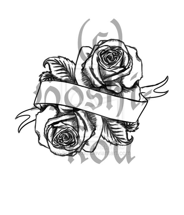 Banner And Rose Flowers Tattoos Design