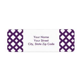 Purple Lattice on White return address label