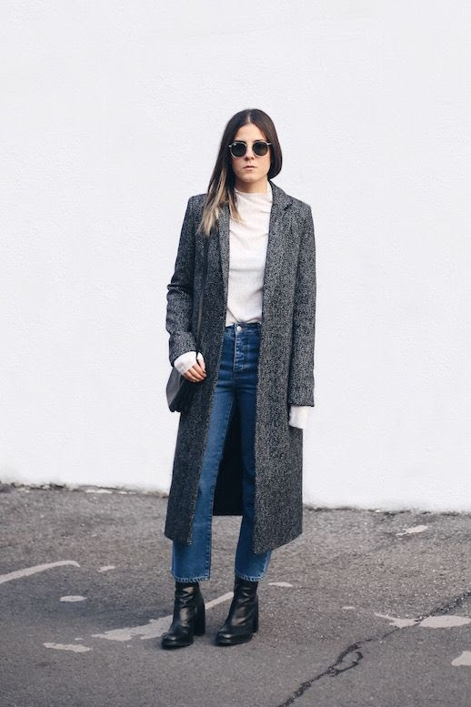 Le Fashion Blog Two Ways Maxi Coat Herringbone Mock Neck Shirt Jeans Cropped Boyfriend Denim Heeled Boots Blogger Style Via The Fashion Medley