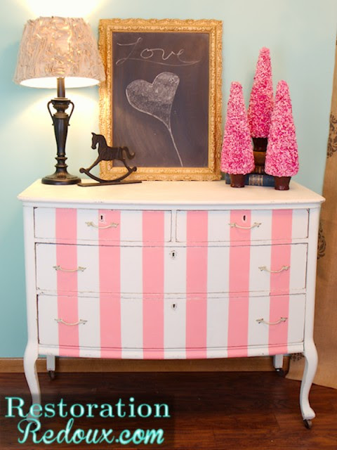 Pink Striped Dresser Fullview