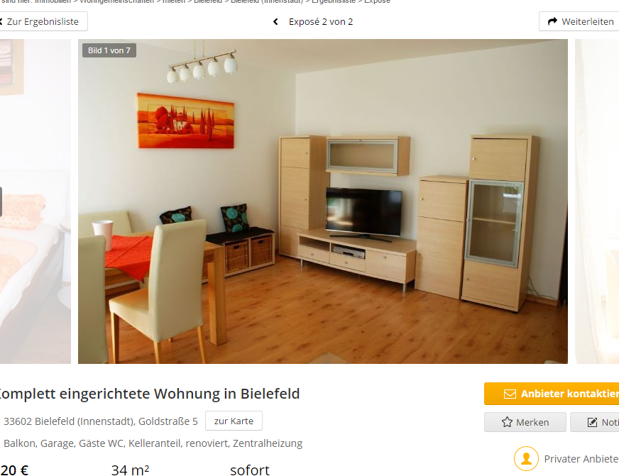 komplett eingerichtete wohnung in bielefeld 33602 bielefeld. Black Bedroom Furniture Sets. Home Design Ideas