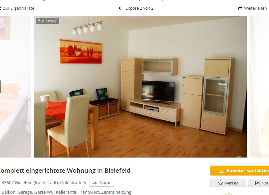 komplett eingerichtete wohnung in bielefeld 33602 bielefeld. Black Bedroom Furniture Sets. Home Design Ideas