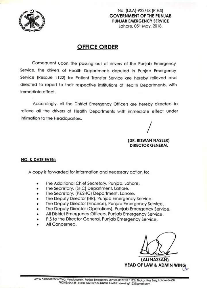 Office Order of Relieving of Drivers Health Department ...