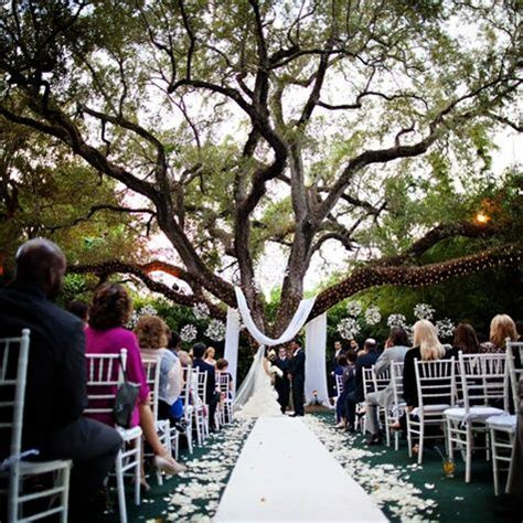 Ceremony beneath an oak tree decorated with lights and
