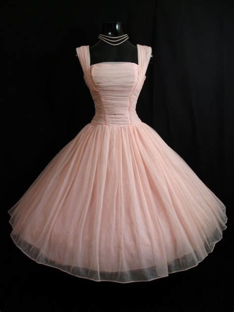 50s Vintage Pink Short Chiffon Homecoming Dress Party