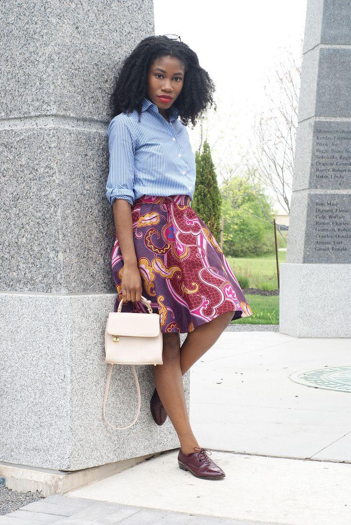 Ajepomaa Patterned Skirt via Kuwala, stripe dress shirt, african print, Toronto blogger, african style blogger