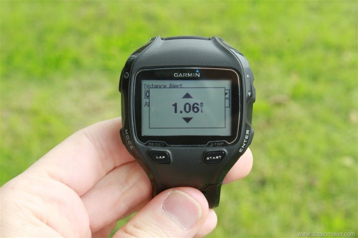 Garmin FR910XT Distance Alert Customization