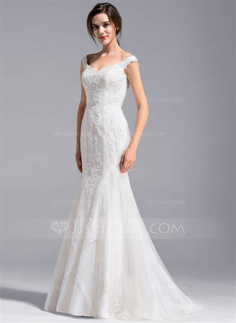 Trumpet/Mermaid Off the Shoulder Sweep Train Lace Wedding