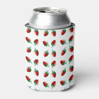 Strawberry Designed Can Cooler