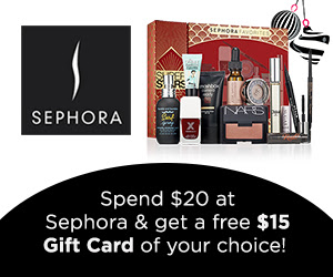 Spend $20 at Sephora / Get FREE $15 Gift Card