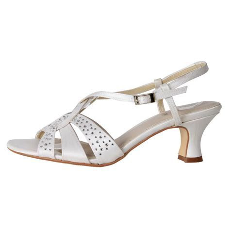 New Clarice Women's Satin Rhinestone Kitten Heel Wedding