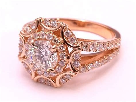 Vintage Rose Gold Victorian Halo Double Band Diamond