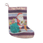 Cute father christmas wrapping gifts knitted small christmas stocking