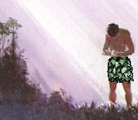 Adam setelah jatuh dalam dosa. Copyrighted, The God's Story Project.
