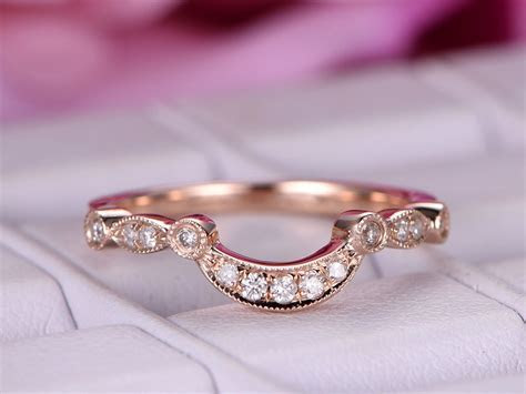 $329 Pave Diamond Crescent Wedding Band Half Eternity