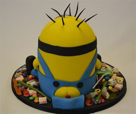 Small 3D Minion Cake Surrounded By Sweets   Celebration