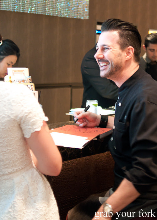 Johnny Iuzzini chatting to fans at The Langham Hotel Melbourne afternoon tea for the Melbourne Food and Wine Festival 2014