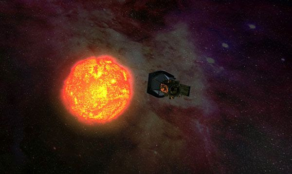 Another art concept of Solar Probe Plus approaching the sun.